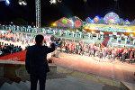 Президент КР Сооронбай Жээнбеков на церемонии открытия Третьих Всемирных игр кочевников в Чолпон-Ата Иссык-Кульской области. Архивное фото