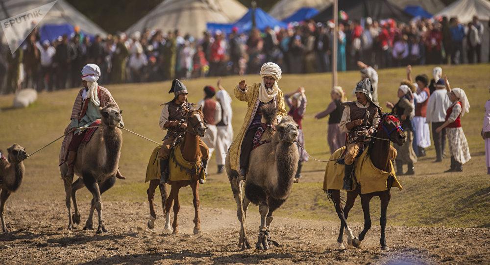 Театрализованное представление Золотой век кочевников в рамках III Всемирных игр кочевников. Архивное фото