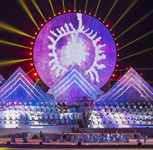 Театрализованное представление на церемонии открытия III Всемирных игр кочевников на ипподроме в Чолпон-Ате. Архивное фото