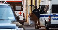 Автомобили скорой помощи и полиции на одной из улиц Москвы. Архивное фото