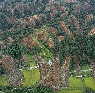 Оползни вызванные землетрясением на острове Хоккайдо на севере Японии. Архивное фото