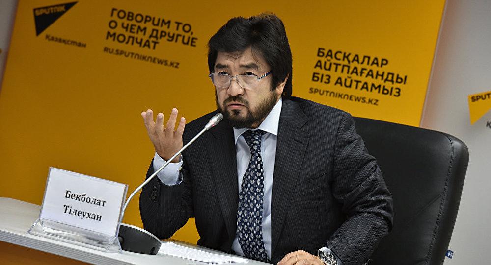 Президент казахстанской федерации национальных видов спорта Бекболат Тлеухан на пресс-центре Sputnik Казахстан