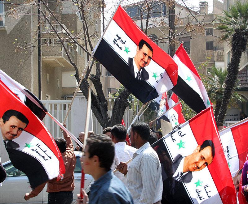Манифестация в центре Дамаска