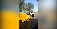 Молоковоз перевернулся после ДТП с легковушкой в Чуйской области — видео