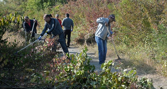 Субботник прошел сегодня, 15 сентября, в Ботаническом саду имени Гареева