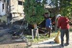 Последствия пожара в этнокомплексе Супара в селе Кок-Жар Аламудунского района. Архивное фото