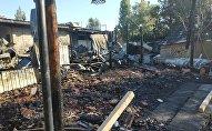 Последствия пожара в этнокомплекса Супара в селе Кок-Жар Аламудунского района