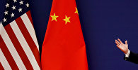 Флаги США и Китая в Большом зале народа в Пекине. Архивное фото