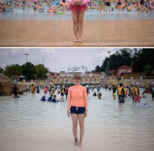 Отдыхающие в аквапарке в Пхеньяне и в аквапарке Carribean к югу от Сеула
