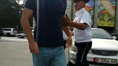 ЖК депутатын ташыган машинанын айдоочусу Sputnik журналистин жакалаган видеосу
