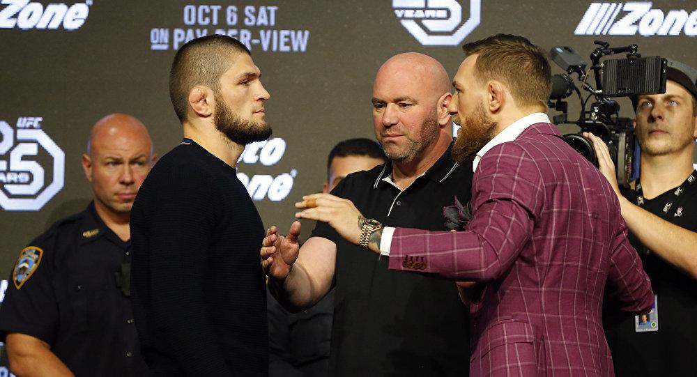 Бойцы UFC россиянин Хабиб Нурмагомедов и ирландец Конор Макгрегор. Архивное фото