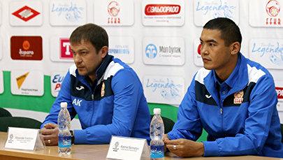 Главный тренер сборной Кыргызстана Александр Крестинин и капитан сборной Азамат Байматов. Архивное фото