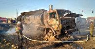 Пожар КамАЗа в Таласе