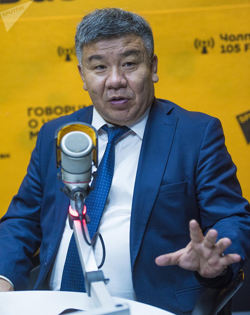 Депутат Жогорку Кенеша Алмамбет Шыкмаматов во время интервью на радиостудии Sputnik Кыргызстан