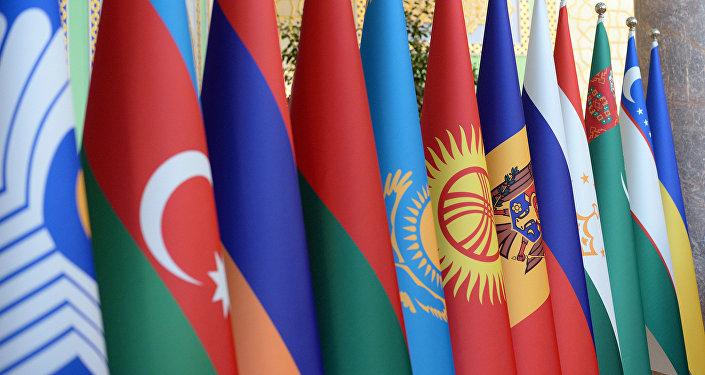 Флаги стран государств Содружества Независимых Государств. Архивное фото