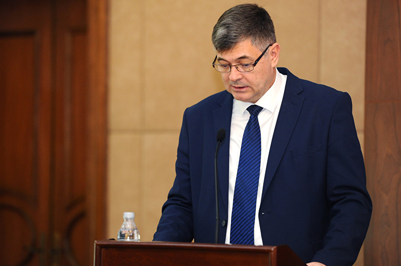 Министр экономики Кыргызской Республики Олег Панкратов во время выступления на международном инвестиционном форуме Новый Кыргызстан-2018