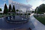 Мэрия Бишкека представила предварительные эскизы сквера (зоны отдыха), который будет разбит на месте сгоревшего здания Генеральной прокуратуры в центре столицы.
