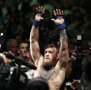 Ирландский боец Конор Макгрегор перед боем с россияниным Хабибом Нурмагомедовым в рамках турнира UFC 229 в Лас-Вегасе. 07 октября 2018 года