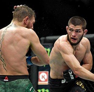 UFC уюмунун россиялык мушкери Хабиб Нурмагомедовдун архивдик сүрөтү