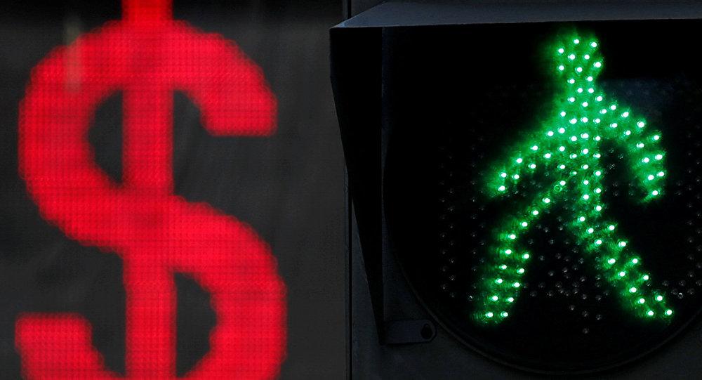 Доллар жана жол чырактын белгиси. Архивдик сүрөт