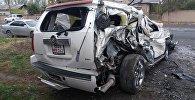 Последствия ДТП с участием внедорожника и грузовой машины в селе Шарон Ноокатского района