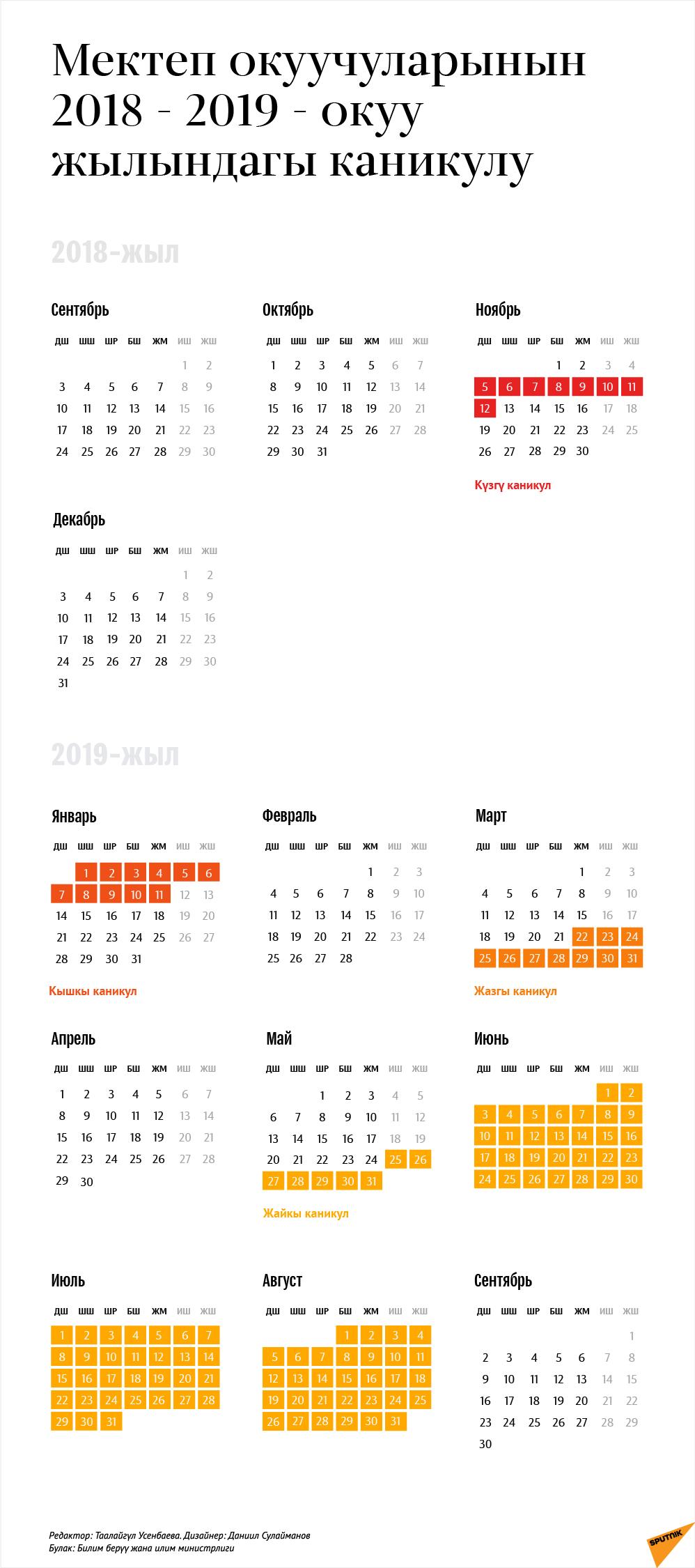 Мектеп окуучуларынын 2018 - 2019 - окуу жылындагы каникулу
