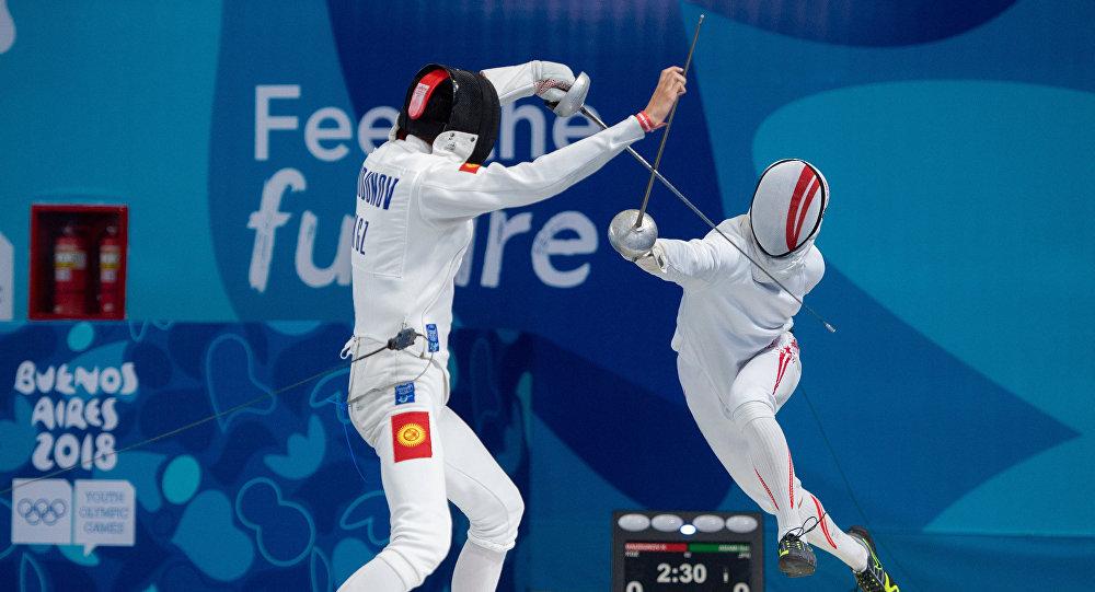 Фехтование боюнча жаштык олимпиадасындагы кыргызстандык Хасан Баудунов
