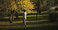Мужчина снимает на камеру листву деревьев. Архивное фото