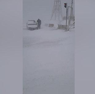 Төө-Ашууга 20 сантиметр кар жаап, бороон-чапкын болууда