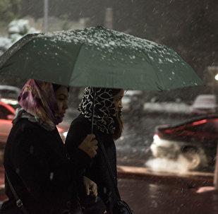 Девушки с зонтами в Бишкеке во время первого снега