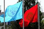 Кыргызстандын жана Бириккен Улуттар Уюмунун желектери. Архивдик сүрөт