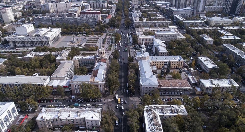 Вид на проспект Чуй города Бишкек с высоты. Архивное фото