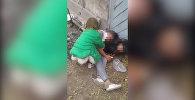 В Бишкеке маленькая девочка пыталась поднять пьяную мать — видео очевидца