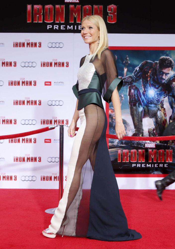 Аристократичная блондинка Гвинет Пэлтроу в платье с дерзкими разрезами на премьере фильма Железный человек