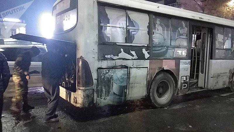 На пересечении улицы Абдрахманова (бывшая Советская) и проспекта Чуй горел пассажирский автобус, следовавший по маршруту №7.