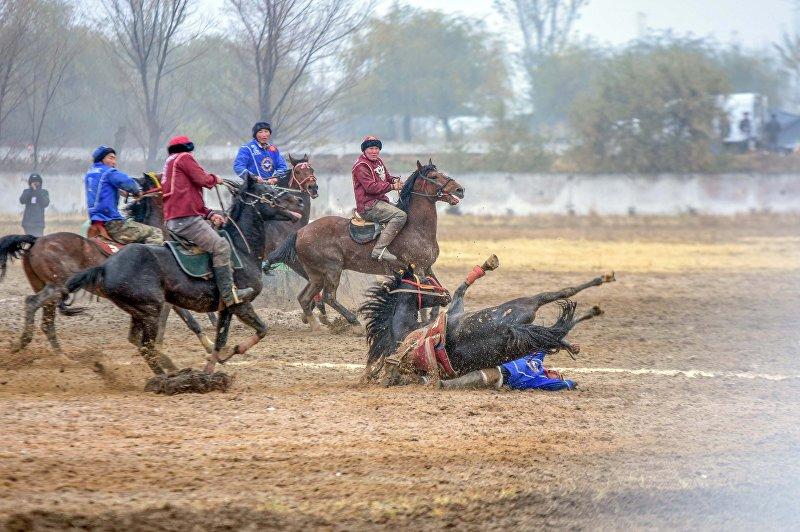 Участники чемпионата Кыргызстана по кок-бору (козлодрание), который прошел в Оше