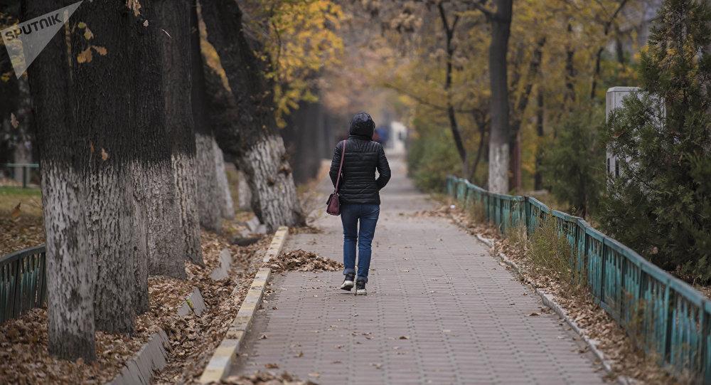 Девушка идет на одной из улиц Бишкека