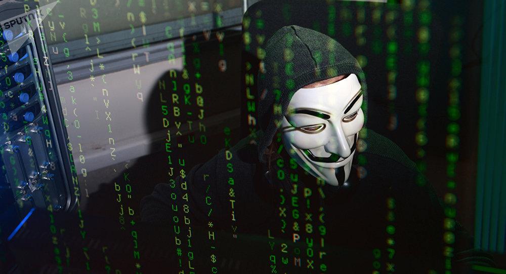 Хакердик чабуул жасап жаткан адам. Иллюстративдүү сүрөт