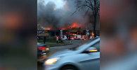 Крупный пожар в гипермаркете Санкт-Петербурга — видео с места ЧП