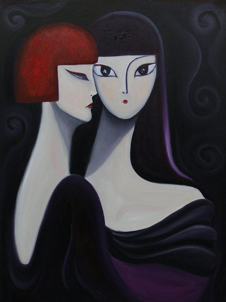 Картина Сплетни кыргызского художника Максата Болотбекова