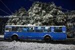 Троллейбус едет по ночному городу. Архивное фото