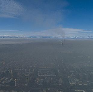 Смог над Бишкеком, вид с дрона