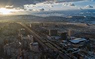 Вид с дрона на Бишкекский микрорайон Асанбай
