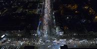 Вид с дрона на ночной Бишкек