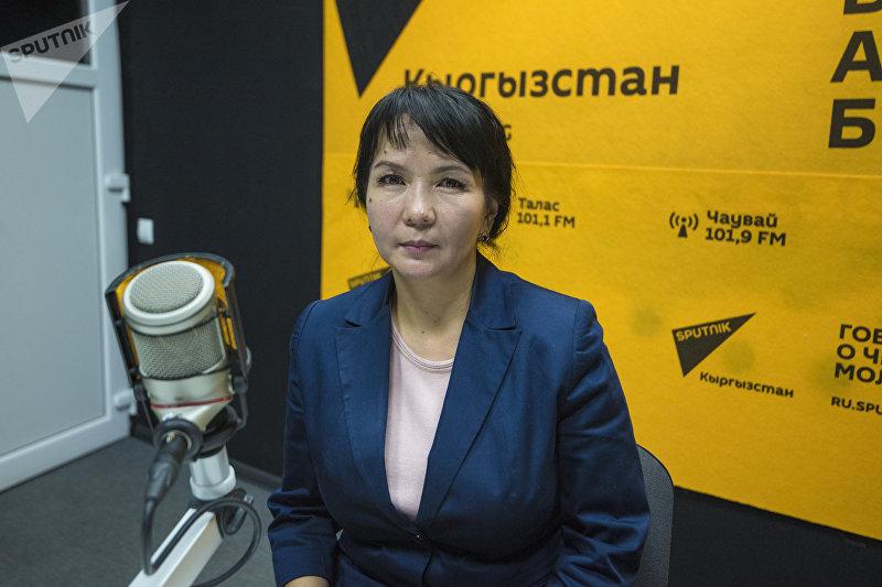 Ведущий специалист Министерства образования и науки Гульшан Абдылдаева во время беседы на радио Sputnik Кыргызстан