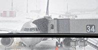 Самолеты в аэропорту во время снегопада. Архивное фото