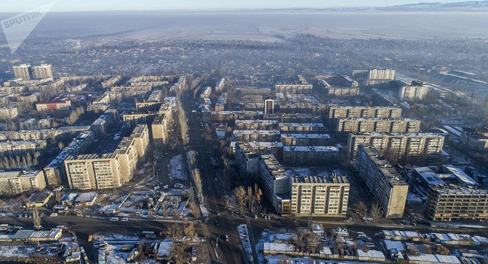 Вид с дрона на Бишкекский микрорайон Аламедин-1