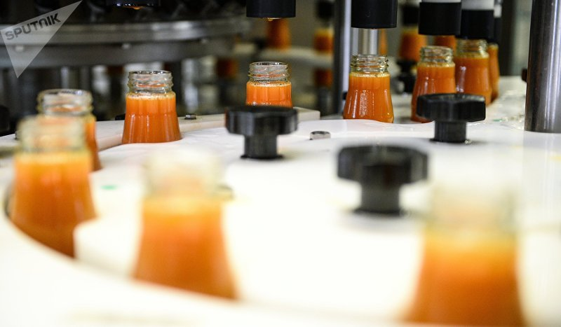 Производство сока на заводе Очаково