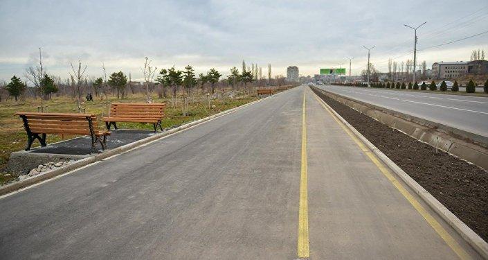 Ширина пешеходной дорожки составила 4,5 метра, велосипедной — 1,5
