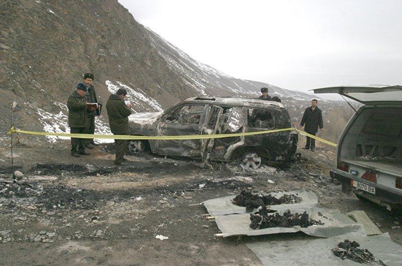 Сожженный автомобиль на котором погиб Медет Садыркулов